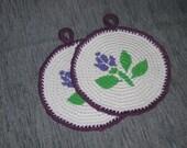 Potholders Rosebud Round Potholders Crochet Potholders