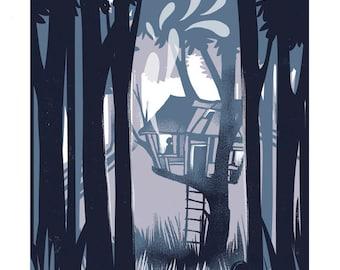 Shadow on the Hillside - mini screenprint