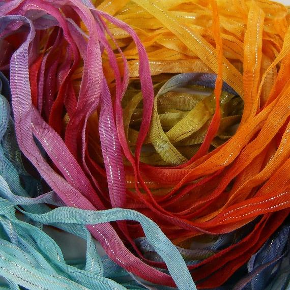 Hand Dyed Ribbon  RaiNbOw2 Dazzle 5 YARDS