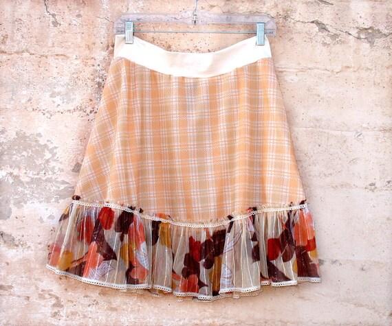 Peaches N Twigs II Skirt XL Womens skirt OOAK 1970s vintage fabric upcycled clothing plus size summer skirt eco fashion sparkle orange plaid