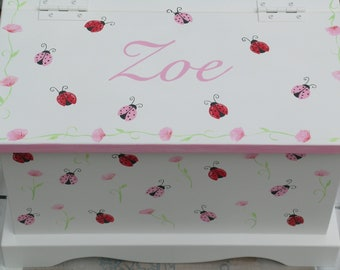 Baby Keepsake chest baby memory box - Ladybug baby gift hand painted
