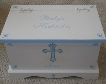 Baby Keepsake chest memory box personalized - blue cross baby boy christening gift baby gift hand painted