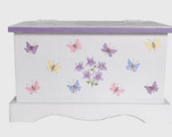 Butterfly & Violets baby keepsake chest memory box personalized baby gift hand painted
