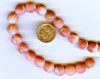Frosted Matte Fire Agate 10mm Red Round Beads 8 inch strand
