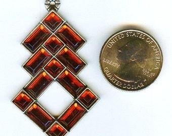 "STUNNING Red Rhinestone Diamond Shape Pendant  2 1/4"""