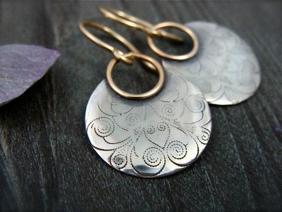 printed moon ... mixed metal earrings