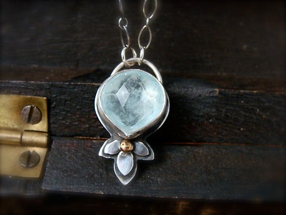 late bloom ... aquamarine pendant