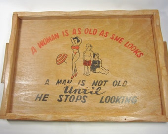 Vintage 1950's Sexy Wood Serving Tray - Retro Funny Bar Ware -REDUCED PRICE