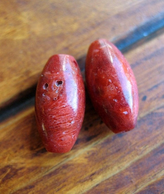 1 Pair Red Coral Oval Beads