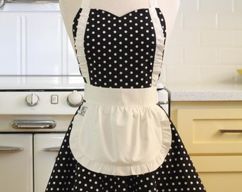 Apron French Maid Black and White Polka Dot with White Double Circle Skirt