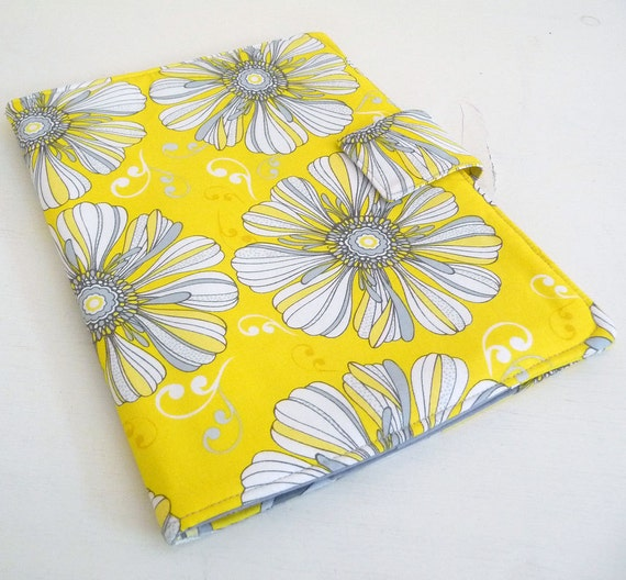 Cover, case for iPad 2 or 3 - Bold Yellow and Grey Floral