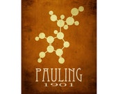 Linus Pauling 11x14 Science Art Print Molecular Structure, Molecule Diagram Scientist Poster Steampunk Rock Star Scientist Geek Office Deco