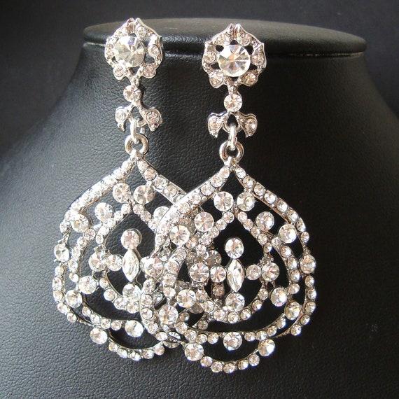 Statement Wedding Earrings, Chandelier Bridal Earrings, Vintage Style Rhinestone Earrings, Crystal Filigree Earrings, VERONA