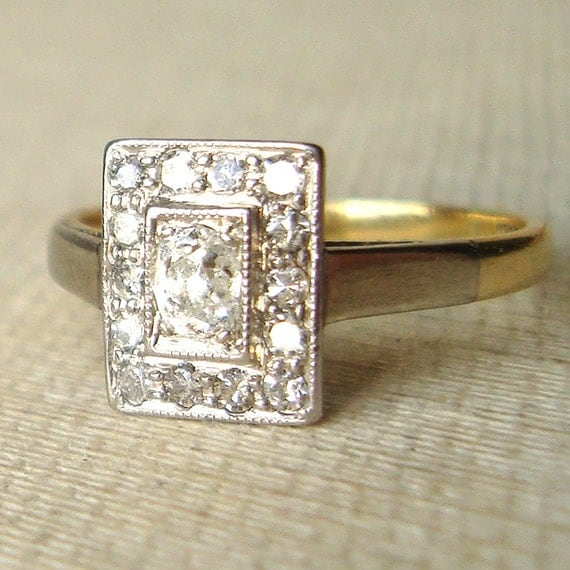 Art Deco Oval Diamond Rectangular Ring Antique Diamond 18k