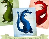 "Dragon Art Series- Set of 3 Illustrations- 8""x10"" Dragon Prints- Childrens Art- Kid Wall Art- Dragon Nursery Prints- Kids Baby Room Decor"
