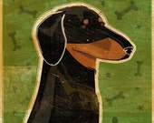 """Coworker Gift- Black and Tan Dachshund Art Print 8"""" x 10"""" Doxie Art Print- Weiner Dog Art- Dachshund Gifts- Weiner Dog Gifts for Parents"""