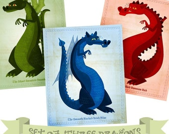 Kids Room Decor, Kids Decor, Cute Dragon Art Series, 3 Dragon Prints, Dragon Nursery Prints