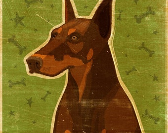 Dog Gifts- Red Doberman Print- Dog Art Print- Red Doberman Art- Whimsical Dog Art- Dog Wall Decor- Dog Print- Red Doberman Gifts- For Him