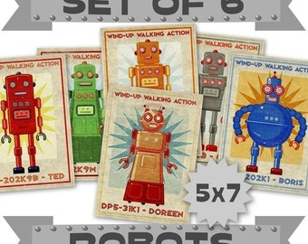 "Robot Prints- 6 Retro Robot Art 5"" x 7"" Land of Nod Retrobots Robot Prints Kids- Robot Wall Art for Kids Room Decor- Sci Fi Art- Kid Bedroom"