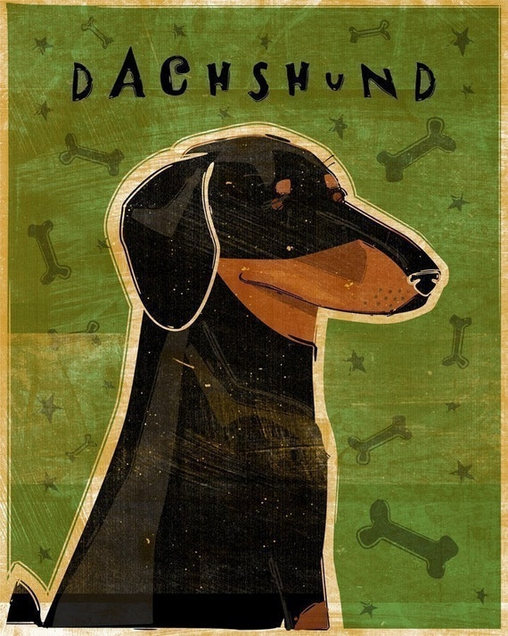 "Coworker Gift- Black and Tan Dachshund Art Print 8"" x 10"" Doxie Art Print- Weiner Dog Art- Dachshund Gifts- Weiner Dog Gifts for Parents"