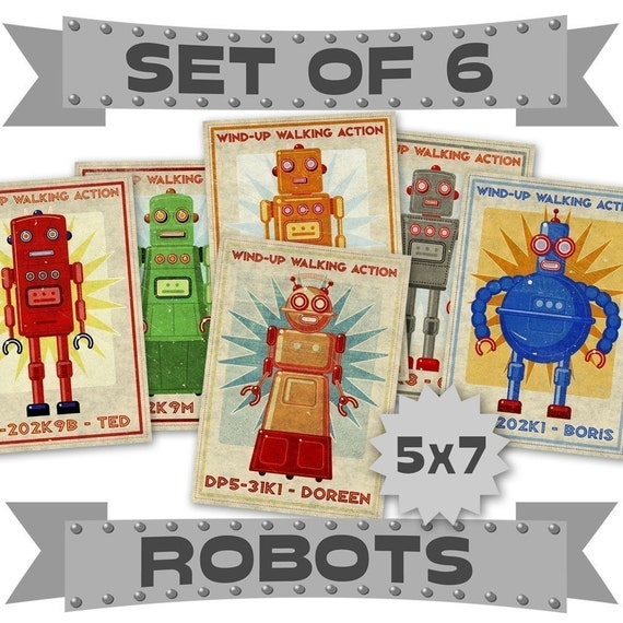 "Robot Prints- 6 Retro Robot Art 5"" x 7"" Land of Nod Retrobots Robot Prints Kids- Robot Wall Art for Kids Room Decor- Sci Fi Art- Kid Bedroom"