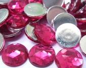 Acrylic Rhinestone Cabochon Beads, Faceted, Circle, Dark Pink, 12mm, 120pcs