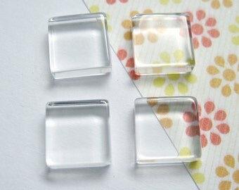 10mm Transparent Glass Cabochons, Square, 50pcs