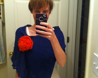 Small Blue Poncho with Orange Flower Pin