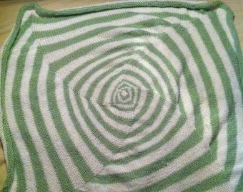 Green and White Square Baby Blanket