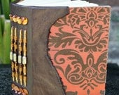 DAMASK Flocked Taffeta and Beaded Leather Spine Art Journal Blank Book Rusty Orange and Brown