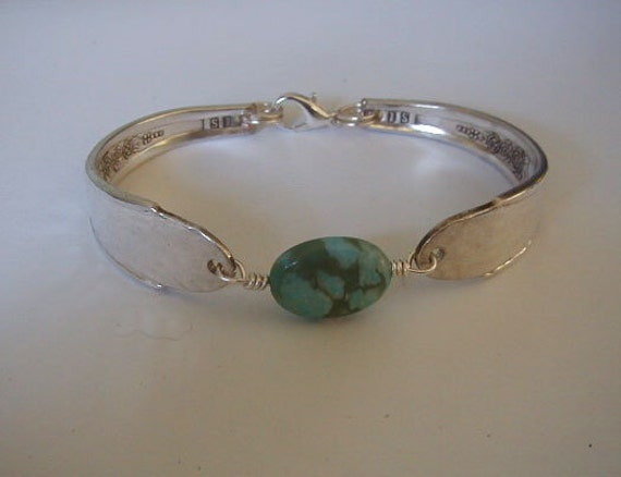 Spoon Bracelet Recycled Silverware Jewelry Turquoise Jasper Gardenia Made to Order