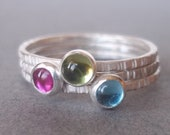 August. July. December. - Tiny Stacking Ring Trio set - Sterling and Fine Silver - Mother's Day Birthstone Stackers