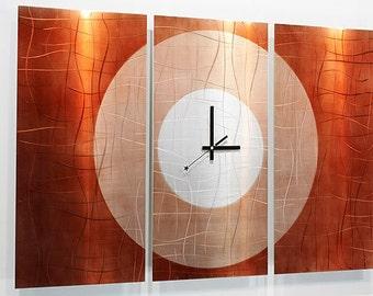 Copper Modern Metal Wall Art - Contemporary Metal Clock - Home Accent - Functional Art - Wall Clock - Timepiece - Endless Time by Jon Allen