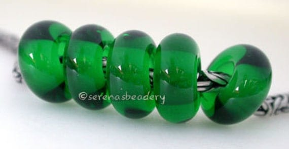European Charm Lampwork Glass Spacer Beads 5 DARK EMERALD Green Glossy or Matte - TANERES wholesale