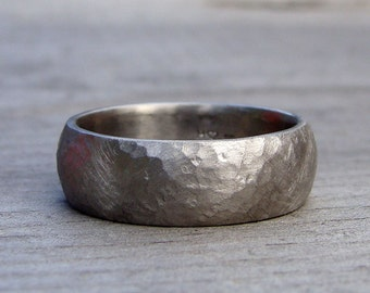 Recycled 950 Palladium Matte Hammered Wide Wedding Band, 7mm Wide, Comfort Fit, Eco-Friendly, Mens Band, Made To Order