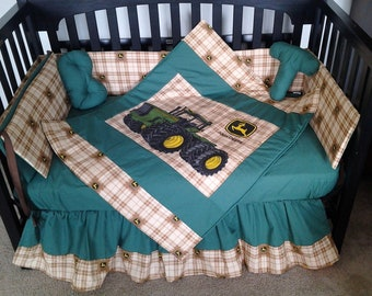 New JOHN DEERE baby crib bedding set in brown Deere plaid fabric and green accent fabric