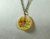 Hand Painted Bone Disc Pendant Necklace
