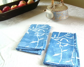 sky blue batik dinner napkins