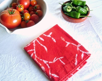 bright red linen tea towel