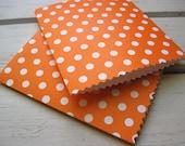 Handmade Mini Paper Bags -  Orange with White Polka Dots -  Set of 10