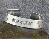 Inspirational Hand Stamped Sterling Silver Wide Cuff Bracelet - DREAM
