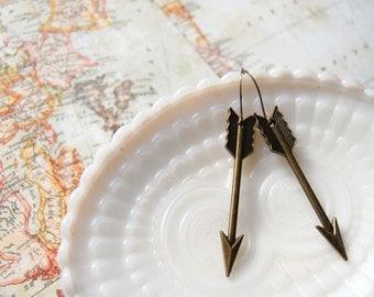 Bronze Arrow drop earrings- metal dangles- tribal-warrior-hunter-vintage inspired