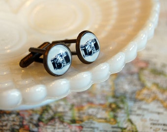 vintage camera cuff links- mens gifts stocking stuffer- antique brass- photography