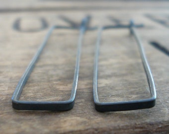 Svelte Hoops Large - Handmade. Hand forged. Heavily Oxidized Sterling Silver Earrings