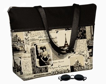 "Laptop Tote Bag  /17 inch Laptop Bag with Straps /  17"" Laptop Case / Padded / Zippered Top  - Paris Eiffel Tower RTS"