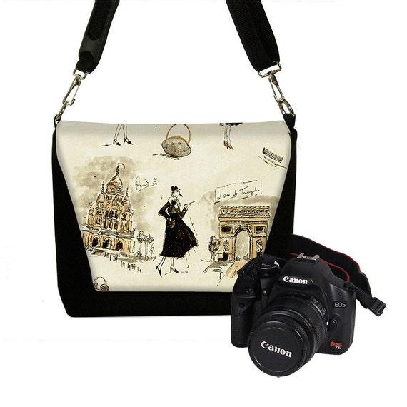 Digital Slr Camera Bag DSLR Camera Bag Purse Womens Camera Bag Case Zipper Padded   - Deluxe Tres Chic Black (RTS)