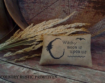 Primitive Witchy Moon Pillow Tuck Cross Stitch E Pattern PDF