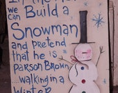 Folk Art Snowman hand-painted sign primtive retro style Holiday Christmas painting