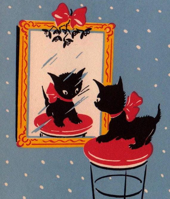 Vintage art deco 1930s merry christmas kitten looking at - Deco noel vintage ...