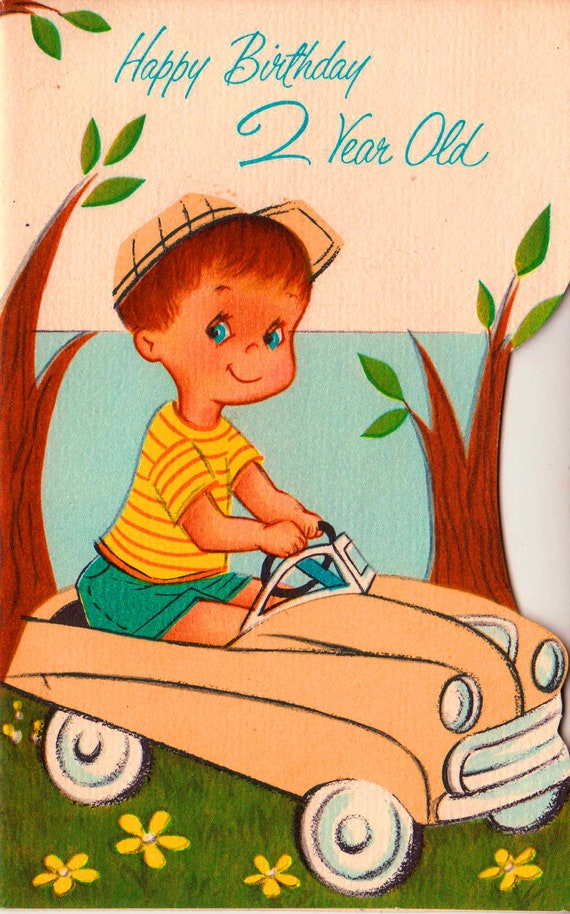 Vintage 1963 Happy Birthday 2 Year Old Greetings Card B6a